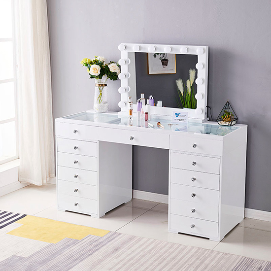 Vanity Dressing Table Glass Top 120cm 13 Drawers Λευκό  & Led Ηollywood Miror 80x65cm - 6910010