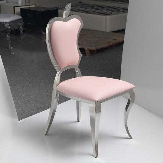 Forbidden Apple Luxury Chair Mirror Stainless SteelBaby Pink - 6920001